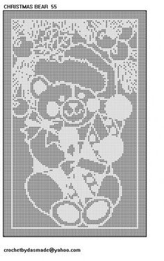 Free Filet Crochet Tablecloth Patterns | Christmas Bear filet crochet doily tablemat tablecloth pattern 55 ...
