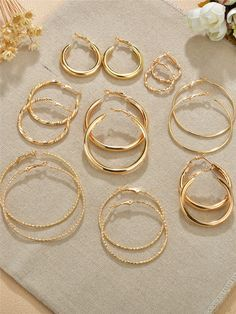 Details about  /10K Gold Three-Tone  20mm Hoop Earrings