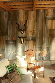 recycled corrugated iron wall