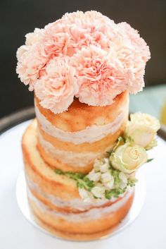 Gorgeous naked cake from a Vintage Hipster Pop Up Flower Shop Party via Kara's Party Ideas | KarasPartyIdeas.com