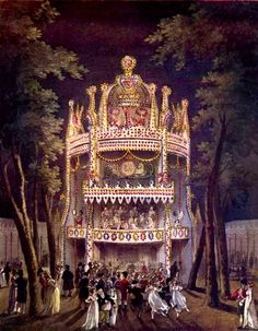 The Cascade at Vauxhall Gardens, via Rachel Knowles at Regency History. Vauxhall Gardens from The Microcosm of London (1808-10).