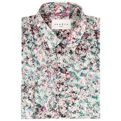 Sandro Ballad Floral Shirt ($145) ❤ liked on Polyvore featuring men's fashion, men's clothing, men's shirts, men's casual shirts, mens formal shirts, mens casual button down shirts, mens button down shirts, mens floral shirts and flower print mens shirt