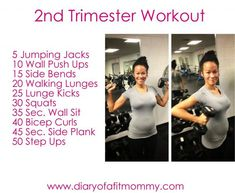Second Trimester At-Home Workouts. Changes In Second Trimester Home Exercise Routines, At Home Workout Plan, At Home Workouts, Second Trimester Workouts, 2nd Trimester, Prenatal Workout, Mommy Workout, Pregnancy Health, Pregnancy Tips