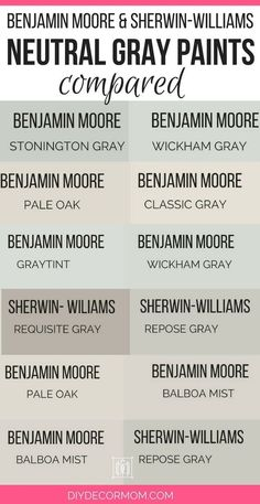 Want a neutral light gray paint color? Most popular gray paint colors from Benjamin Moore and Sherwin-Williams perfect for interiors dining room gray bedroom dark wood kitchen cabinets! See Revere Pewter Balboa Mist Pale Oak compared with paint swat Light Grey Paint Colors, Best Gray Paint Color, Neutral Paint, Grey Colors, Hall Paint Colors, Warm Gray Paint, Popular Paint Colors, Dark Wood Kitchen Cabinets, Dark Wood Kitchens