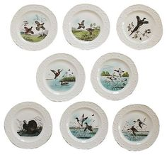 Game-Bird Plates, S/8 | VMF - Tabletop | One Kings Lane
