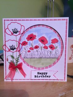 Dreamees poppy stamp, Tonic markers & memory box poppy die I Card, Poppy, Markers, Happy Birthday, Stamp, Memories, Box, Happy Brithday, Memoirs