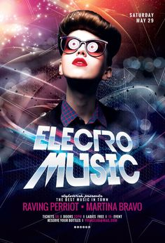 Electro Music Flyer by styleWish on Graphicriver (PSD Template)