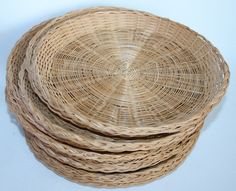 Lot of 13 vintage  Rattan Wicker Paper Plate Holders for Party Tailgating Picnic #Unbranded