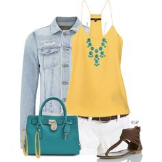 """""""Solid Yellow Cami & White Shorts"""" by colierollers on Polyvore"""