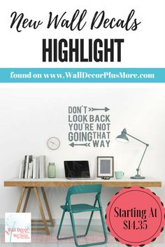 Inspirational saying with arrows ~ Wall or project vinyl decal sticker or stencil ~ Don't look back!