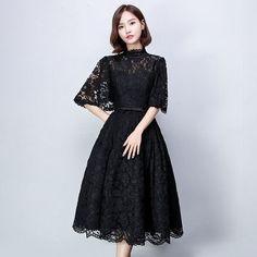 ドレス-ミニ・ミディアム ドルマンスリーブ 黒レースパーティードレス 膝丈 ミモレ丈 衣装(2)