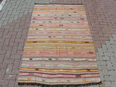 "VINTAGE Turkish Kilim, Area Rug Carpet, Handwoven Kilim (Embroidered) Rug,Antique Rug,Decorative Rug, Natural Wool 51.5"" X 90"""