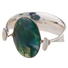 GEORG JENSEN Very Rare Torun Bangle 203, sterling with moss agate.