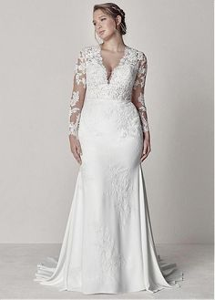 Magbridal Exquisite Tulle & Chiffon V-neck Neckline Mermaid Plus Size Wedding Dr. - Magbridal Exquisite Tulle & Chiffon V-neck Neckline Mermaid Plus Size Wedding Dress With Lace Appli - Casual Wedding Guest Dresses, Plus Size Wedding Gowns, Lace Wedding Dress, Fit And Flare Wedding Dress, Long Sleeve Wedding, Plus Size Dresses, Bridal Dresses, Dress Lace, Dressy Dresses
