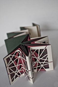 "Star Carousel with interesting windowed layers Artist Book by Jacqueline Zhao. Inspired by Daniil Kharms' ""Blue Notebook No. Concertina Book, Accordion Book, Book Art, Up Book, Paper Book, Paper Art, Pop Up, Tunnel Book, Book Sculpture"