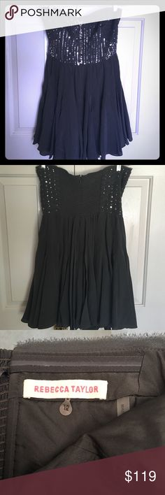Rebecca Taylor Silk Sequined Cocktail Dress Stunning charcoal gray silk dress by Rebecca Taylor. Bodice embellished with silver sequins! Beautiful flowy and flouncy dress. Strapless and zips down the back. Fantastic dress in impeccable condition! Almost new because it's only been worn once💕🌟 Rebecca Taylor Dresses Mini