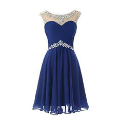 Knee-length Chiffon Bridesmaid Dress Sheath / Column Scoop with Crystal Detailing 2016 - $79.99