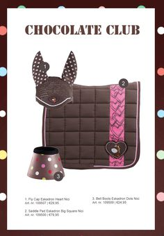 #horse #rider #equestrian #epplejeck #horsefashion #saddlepad #flycap #bellboots #eskadron #eskadronnici #nici #brown #pink #dots #hearts #bigsquare #epplejeck Chocolate Club, English Horse Tack, Horse Riding Clothes, Horse Fashion, Horse Supplies, Saddle Pads, Equestrian, Pony, Horses