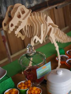 Great dinosaur bones decor for a boy birthday dinosaur birthday party! | CatchMyParty.com