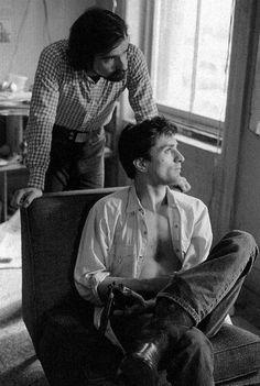 Martin Scorsese and Robert De Niro on the set of Taxi Driver
