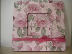 Pink Rose Picture Frame by lilaccottagecards on Etsy, $12.00