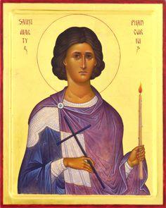"St. martyr Phanurius. 2015. Wood, gesso, tempera, gilding. 10""x 8"". St.Nicholas cathedral in Toronto (Canada)."