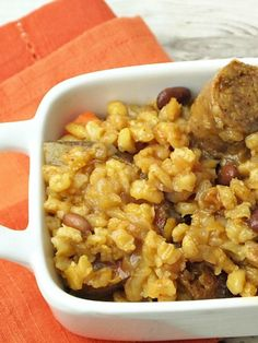Vegetarian Chicken Apple Sausage Cholent Stew Makes an easy dinner any time.