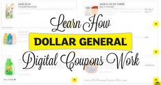 How Dollar General Digital Coupons Work – My Momma Taught Me – Finance tips for small business Dollar General Digital Coupons, Dollar General Couponing, Best Money Saving Tips, Saving Money, Couponing For Beginners, Shopping Coupons, Debt Payoff, Financial Planning, Finance Tips