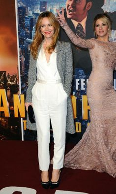 Christina Applegate changes the whole complexion of this red carpet pic for Leslie Mann at the London premiere of Anchorman 2.