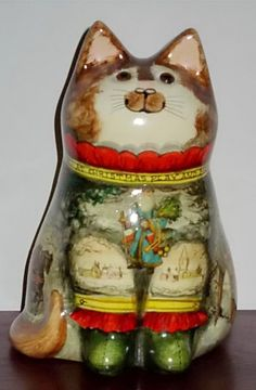 "Genuine RYE Pottery DE Bethel Decoupage Large CAT ""THE Christmas CAT"" Christmas Cats, Rye, Snow Globes, Decoupage, Pottery, Decor, Cats, Ceramica, Decoration"