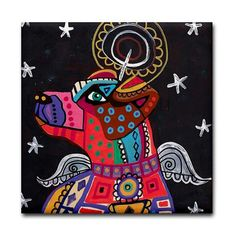Free Shipping - Jack Russell Angel art Tile Ceramic Coaster Mexican Folk Art Print of painting by Heather Galler dog