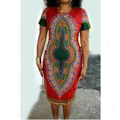 African Clothing, African Dashiki Print Midi Dress, African Midi Dress, Dashiki Midi Dress By Zabba Designs