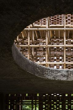Terra Cotta Studio by Tropical Space Architecture Studio - great use of form work to create texture / pattern to edge and underside of concrete. Thomas Heatherwick, Arch Architecture, Brick Facade, Brickwork, Pottery Studio, Brutalist, Hanoi, Vietnam, Tropical