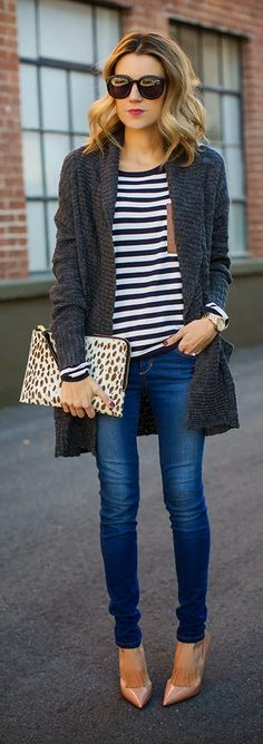 Skinnies & Heels. love the pointy toe, the cardigan and stripes...also that clutch!!