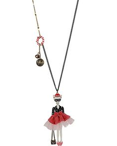 CAMEO CRITTERS DIVA KITTY LONG PENDANT NECKLACE MULTI