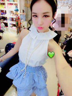 DR001296 Stripe high collar skirt high waist two piece suit