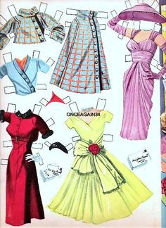 1957 Jane Powell paper doll clothes / eBay