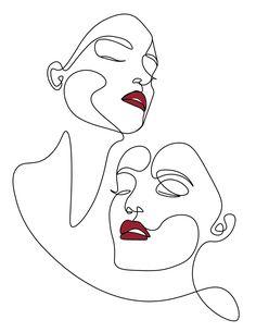 Hirsch Illustration, Illustration Art, Outline Art, Face Outline, Line Art Flowers, Face Line Drawing, Abstract Face Art, Line Art Design, Art Drawings Sketches Simple