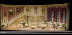 """For this show, The director asked for a fairly classic """"Federal"""" style of decor that was fitting for Washington DC. Also essential to the story was the need to create an environment where Billy would feel comfortable learning and growing and at the same time make Harry Brock feel completely out of his element. What I created was referred to as a feminine """"Oval Office."""""""
