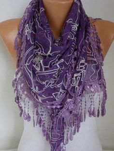 Purple Embroidered Scarf #blackfriday 20% OFF #scarf #fashion  #accessories #christmas