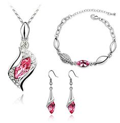 KALIS Charm Jewelry Set Necklace Bracelet And One Pair Earring Plainum-plated Alloy Fashion Austria Crystal Jewelry Set Pink Pendant High Quality Gurantee KALIS http://www.amazon.com/dp/B00YOFX2C0/ref=cm_sw_r_pi_dp_.eLLvb09WB14S