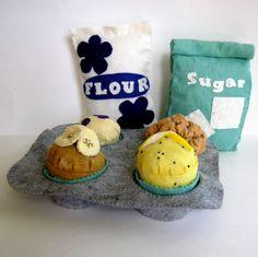sew, muffins, sunday morning, flour, foods, felt crafts, diy crafts, bag, felt food