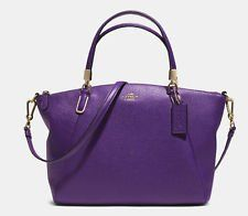 Women's Shoulder Bags - New Coach 33733 Pebble Leather Kelsey Crossbody Satchel Handbag Violet ** Click image for more details.