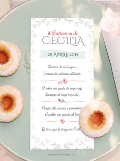 menu personalizzato festa di battesimo bimba