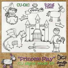 Princess Play - CU doodles | CU/Commercial Use #digital #scrapbook design tools at CUDigitals.com #digitalscrapbooking