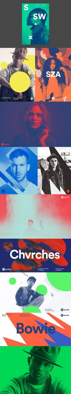 New Spotify branding, bold colours, geometric shapes, visual interest.: