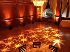 Our team at Elegant Event Lighting created this beautiful star pattern projection at Maggiano's Chicago.