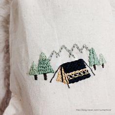 [자수/프랑스자수/멘티자수/핸드메이드] Camping : 네이버 블로그