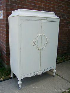 Creamy White Antique Armoire