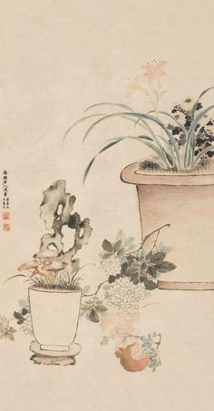 Chen Shu(陈书) was a female painter of Qing Dynasty. Her works included portraits , landscapes , flowers and birds. Sumi E Painting, Chinese Painting, Chinese Art, Asian Flowers, Chinese Flowers, Chen Shu, Mother Painting, Female Painters, Japanese Drawings